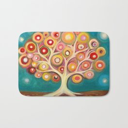 Tree of life with colorful abstract circles Bath Mat