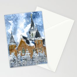 Provo City Center LDS Temple in Winter watercolor Stationery Cards