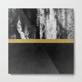 Golden Line / Black Metal Print