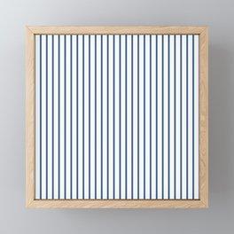 Iris Blue Pinstripe On White Framed Mini Art Print