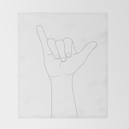 Minimal Line Art Shaka Hand Gesture Throw Blanket