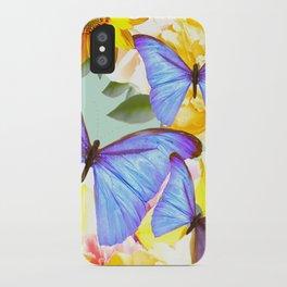 Bright Blue Butterflies Yellow Flowers #decor #society6 #buyart iPhone Case