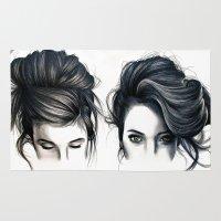 hair Area & Throw Rugs featuring Hair by KatePowellArt
