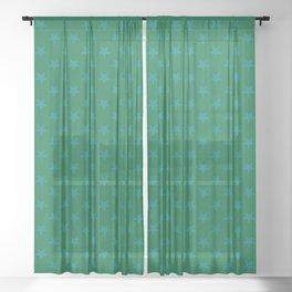 Teal Green on Cadmium Green Stars Sheer Curtain