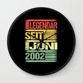 18th Birthday Legendary Since June 2002 Gift Wall Clock