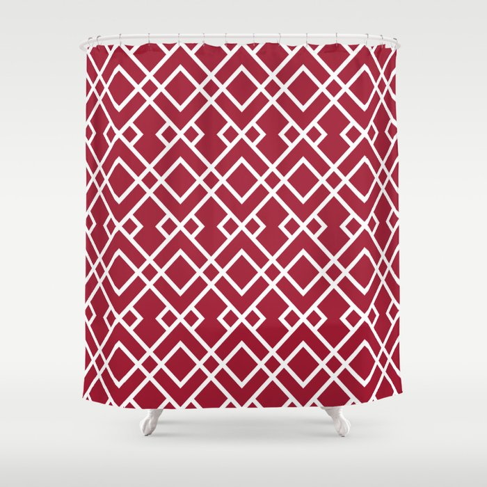 University Of Alabama Colors Trendy Patterns Minimal Pattern College Football Sports Shower Curtain