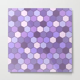Galactic Hexagons in Purple Metal Print
