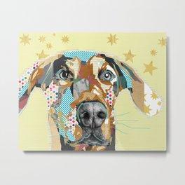 Funny Ears Dog Collage Metal Print