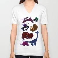 cartoons V-neck T-shirts featuring Dinosaur Cartoons by Cartoonasaurus
