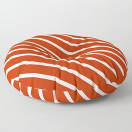 Burnt Sienna Diagonal Stripes Floor Pillow