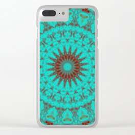 Mandala Fractal in Oxidized Copper 2 Clear iPhone Case