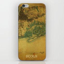 Brooklin 1898 vintage map, usa old vintage maps iPhone Skin