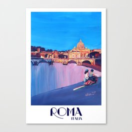 Rome Scene with Motorcycle and view of Vatican with Dome of St Peter Canvas Print