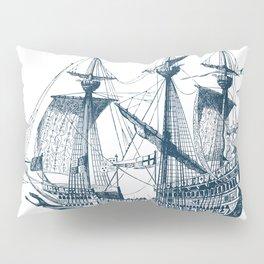 Blue vintage nautical wind sailing boat Pillow Sham