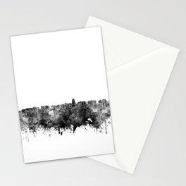 Madison skyline in black watercolor on white background Stationery Cards