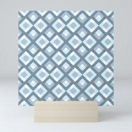 Hip Gray Light Slate Blue Geometric Squares Pattern Mini Art Print