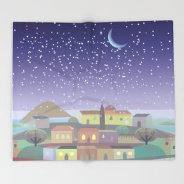 Snowing Village at Night (Square) Throw Blanket