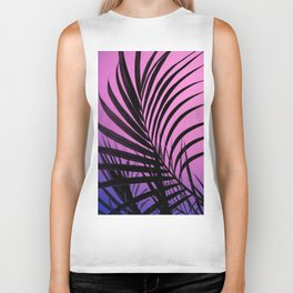 Simple palm leaves paradise with gradient Biker Tank