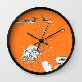 Two Tailed Duck and Jellyfish Orange Wall Clock