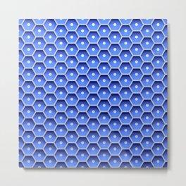 Blue honeycomb hexagons Metal Print