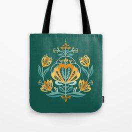 Nordic Dark Green Rose Tote Bag