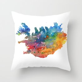 Iceland Map Watercolor by Zouzounio Art Throw Pillow