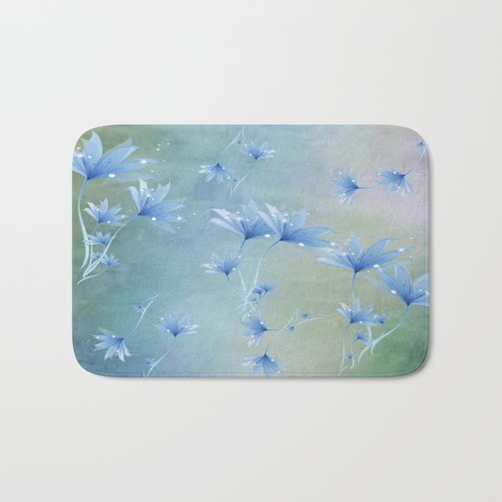 Fantasy Floating Blue Flowers Abstract Bath Mat