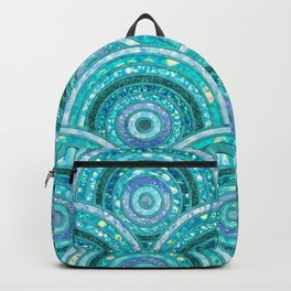 Aqua Blue Silver and Green Sparkling Glitter Circles Backpack