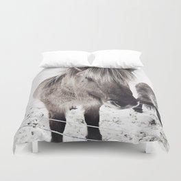 snowy Icelandic horse bw Duvet Cover