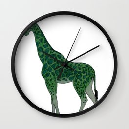 Giraffe is for Green Wall Clock