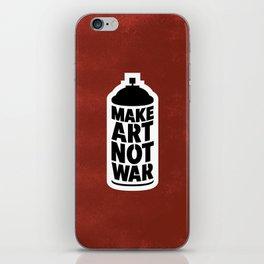 Make Art Not War, Blk, Red + Wht iPhone Skin