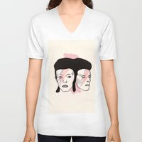 bowie V-neck T-shirts featuring Bowie by NikkiMaths