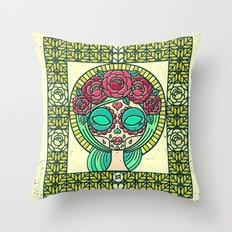 Sugar Skull Girl Throw Pillow
