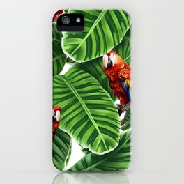 tropical leaves macaw pattern iPhone Case