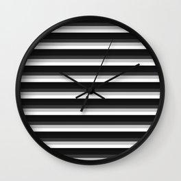 Stripes Black Gray & White Ombre Wall Clock