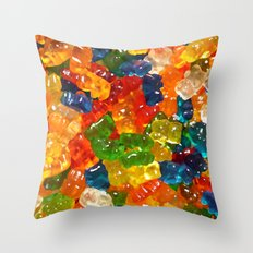 Gummy Bears by Squibble Design Throw Pillow