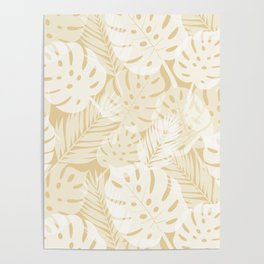 Tropical Shadows - Beige / White Poster