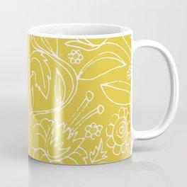 Garden Floral Drawing on Yellow Coffee Mug