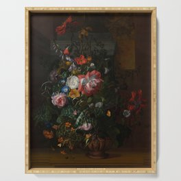 Rachel Ruysch - Roses, Convolvulus, Poppies and other flowers in an Urn on a Stone Ledge (1680) Serving Tray