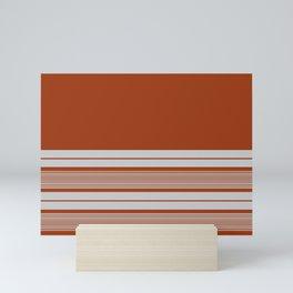 Retro Orange Grey Stripes Mini Art Print