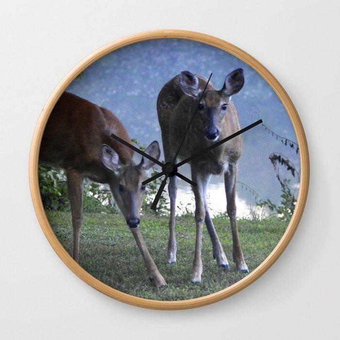 Grazing Deer Wall Clock