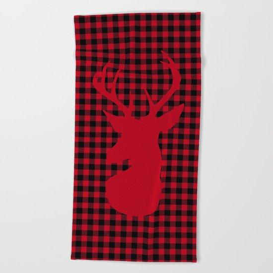 Red Plaid Deer Stag Design Beach Towel