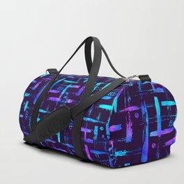 Blue color brush stripes plaid Duffle Bag