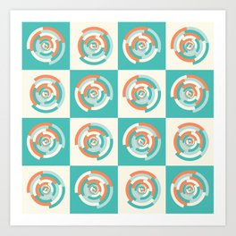 Spinning colourful rings on mint and pale yellow chessboard Art Print