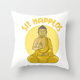 Sit Happens Funny Meditation Pun Monk Meditating Throw Pillow