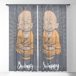 Be Happy Little Buddha Sheer Curtain
