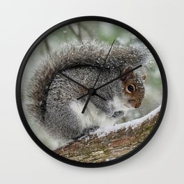 Gray Squirrel Curling Its Tail in a Snowstorm Wall Clock