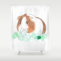 guinea pig Shower Curtains featuring Guinea Pig Clover by Elena O'Neill
