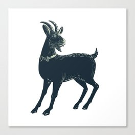 The Goat Wearing Bow Tie Scratchboard Canvas Print