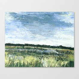 Pallet Knife Painting of the Baker Wetlands with greens and blues. Canvas Print